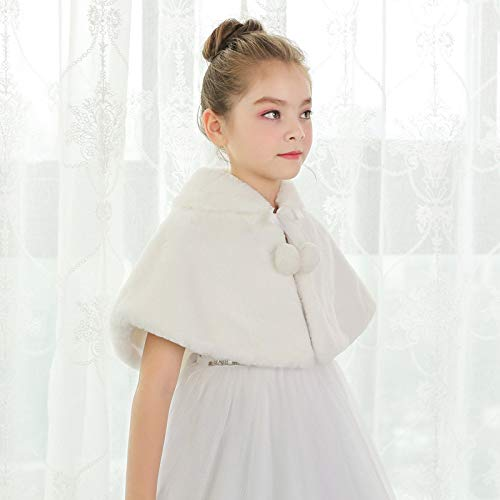VIOY Kinder Schal Mantel Herbst Winter Prinzessin Kleid Blumenmädchen Haar warme Mantel,Beige,M