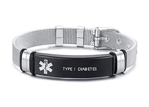 XUANPAI Edelstahlarmbandarmband Angepasst Medical Alert Notfall Link Armband Einstellbar Graviert mit Type 1 Diabetes (Medizinische Notfall Tasche)