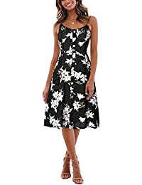 BMJL Women s Dresses V Neck Floral Print Strappy A Line Ladies Sleeveless  Cocktail Party Beach Summer 843aa2081