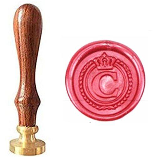 MNYR, timbro vintage goffrato con lettere dell'alfabeto dalla A alla Z con corona, per stampi con cera, con manico in legno, per inviti, regali, lettere C