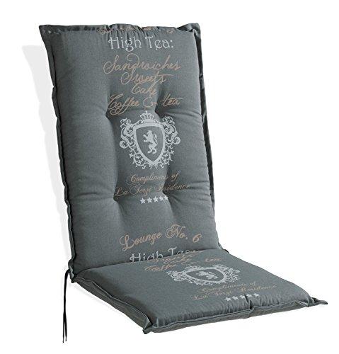 Sesselauflage Sitzpolster Gartenstuhlauflage für Hochlehner ANTON 1 | 50x120 cm | Grau | Baumwolle