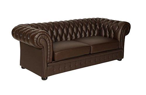 Classic Chesterfield Sofa 3er braun Leder