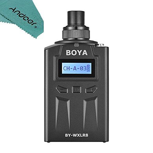 Andoer BOYA by-WXLR8 Plug-on Transmitter mit LCD Display für by-WM8 by-WM6 Wireless Lavalier Mikrofonsystem 3 Pin XLR Mic Audio Mixer