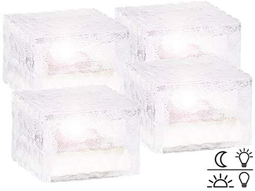 Lunartec Leucht Steine: Solar-LED-Glasbaustein mit Lichtsensor 4er-Set klein (7x7 cm) (LED Glassteine)