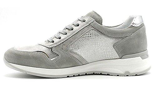 Chaussures De Sport Nero Giardini P805054d-123 5054 Sneaker En Cuir Gris Acier Gris