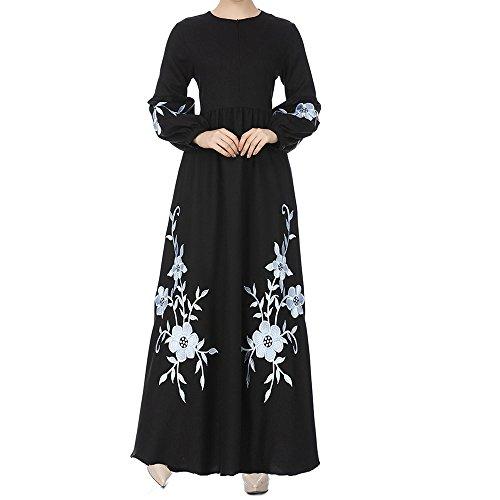 Muslimische Chiffon Langarm Kleid Elegant Stickerei Knöchellang Kleid Tunika Abaya Dubai Kleider...