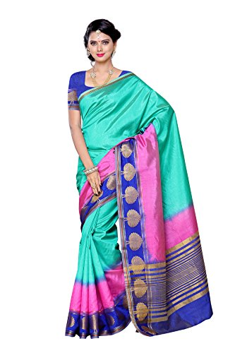 Mimosa Women's Traditional Art Silk Saree Tassar Silk With Blouse Color:Multi(3304-3032-3D-RAMA )  available at amazon for Rs.999