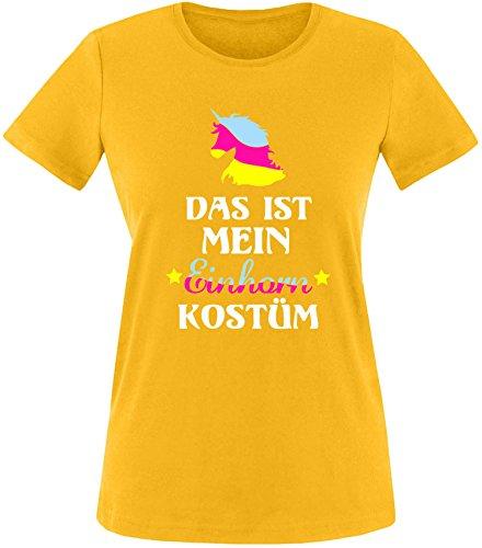 EZYshirt® Das ist mein Einhorn Kostüm Damen Rundhals T-Shirt Gelb/Bunt