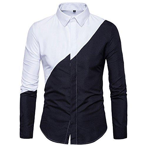 VECDY Herren Bluse,Räumungsverkauf-Herren Langarm Oxford Formelle beiläufige Anzüge Slim Fit T-Shirt Hemden Bluse Top Colorblock Cardigan(Schwarz,44)
