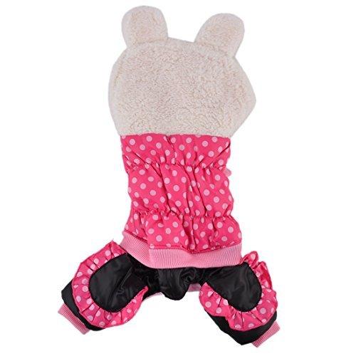DealMux Plüsch Hund mit kurzen Ärmeln mit Kapuze Kaninchen geprägt Bekleidung Overall Größe S Rosa (Geprägte Bekleidung)