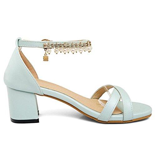 COOLCEPT Femmes Mode Orteil ouvert Chunky Heel Sandales Elegant Sangle de cheville Chaussures with Perle Bleu