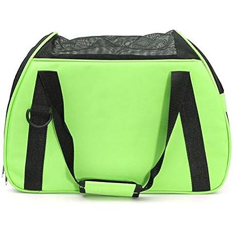 Bolsa de transporte para mascotas - SODIAL(R)bolsa de tela de jaula con asas portatil para llevar perro gato y otros animales en viaje verde