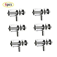 CAILI Door Bolts, 6 PCS Stainless Steel Latches, Small Plate Latches, Sliding Door Plugs, Surface Mounted Sliding Bolts for Security Doors, Wooden Doors, Bathroom Doors, etc.