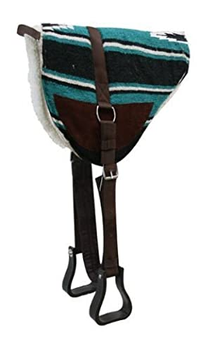 Navajo Bareback Saddle Pad with Kodel Fleece Bottom and Suede Wear Leathers with Stirrups Teal by Showman