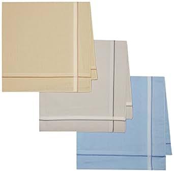 Peter England Men's Handkerchief (Pack of 3) (UAE4342_Pastel_45 X 45 cm)