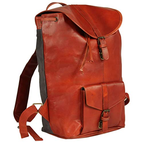 Festnight- Echtleder Rucksack, Vintage Schulrucksack Retro Daypack Backpack Lederrucksack Wanderrucksack Reisetasche für Damen Mädchen Hellbraun 27 x 16 x 43 cm