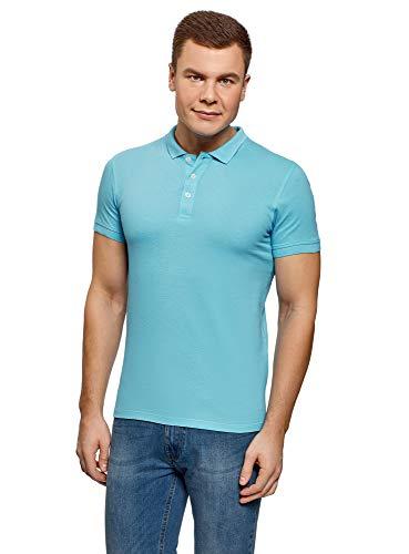 oodji Ultra Herren Pique-Poloshirt, Blau, DE 46-48 / S