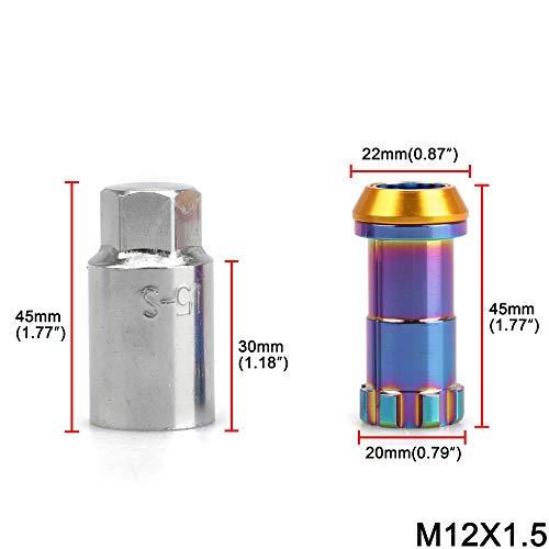 DONXIANFENG 20PCS Racing Auto-Änderung R40 Reifen Mutter Radmutter Chrom Titanium-Beschichtung Anti-Diebstahl Radmuttern Lock Set M12x1.25 M12x1,5 (Specifications : M12x1.25)