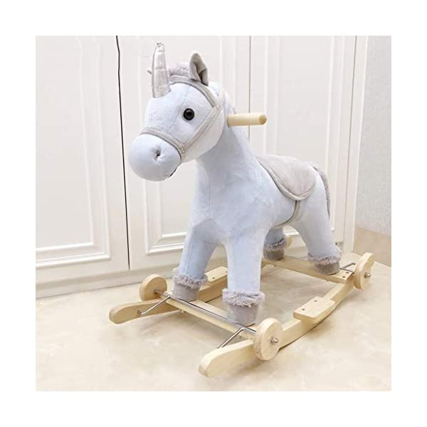 WJMLS Rocking Horse Trojan with Music Rocking Cradles, Early Childhood Education, Educational Toys, Horse WJMLS Material: Crystal super soft, solid wood, safe and environmentally friendly, all-round protection of baby safety. Details: Meng styling attracts attention, balances balance and swings, plush fills comfortSpecifications: length 70cm, width 28cm, height 60cm, suitable for children aged 1-6 Design: According to the baby's body function design, it can effectively promote your baby's health. 3