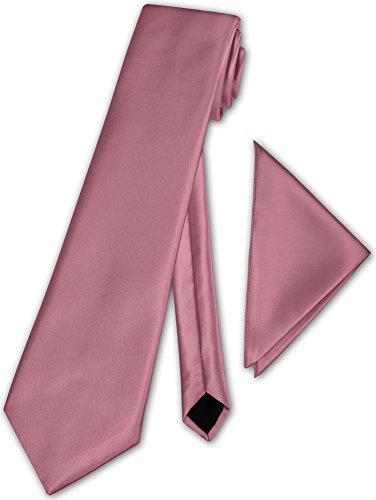 Herren Krawatte klassisch mit Einstecktuch Klassik Anzug Satinkrawatte - 30 Farben (Altrosa)