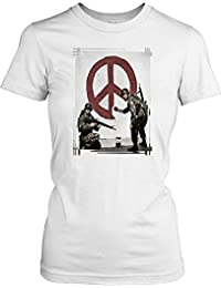 Banksy - Soldiers Painting Peace - Urban Artist Ladies T Shirt - Funny