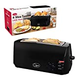 Quest 35069 4-Slice Toaster Extra Wide Slots Cool Touch, 1400W, Black