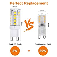 G9 LED Light Bulbs,Elfeland G9 Bi Pin Bulbs 30W Halogen Bulb Equivalent Warm White 3000K None-dimmable PC+Ceramic Cover AC220V 3W 300lm 80Index 33PCS 2835SMD Ideal for Crystal Bulb Ceiling Lights Table Lamp and G9 LED Bulbs (6 pack) by Elfeland