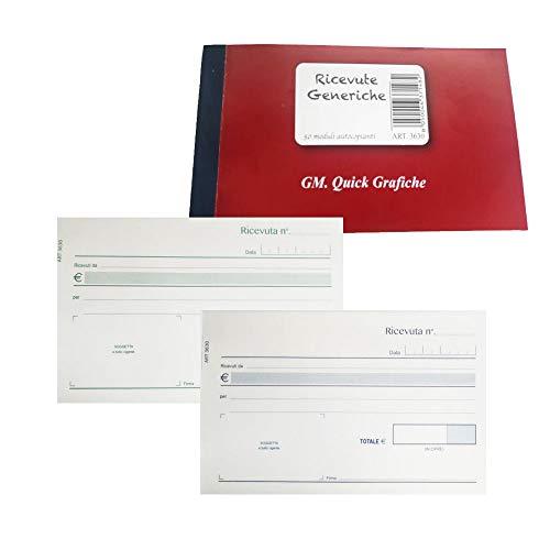 5 blocchetti ricevute generiche - 50 fogli 2 copie - autocopianti 10x17 cm - quick grafiche