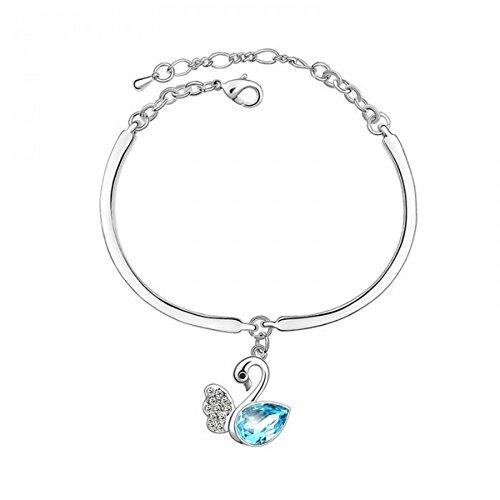 Bracelet cygne cristal swarovski elements plaqué or blanc Bleu turquoise
