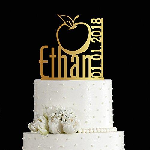 kiskistonite 1. Kuchen Topper Apple Design Fruit Thema individuellen Geburtstag Jahrestag Party Gastgeschenken einen Kuchen dekorieren Supplies Baby Dusche für Jungen Mädchen | Golden