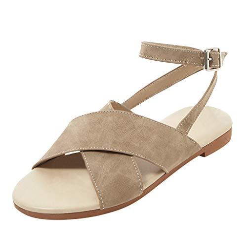 Floweworld Damenmode Sandalen Frauen Sommer Offene Spitze Flache Schuhe Einfache Kreuz Gürtelschnalle Sommer Strand Schuhe Tägliche Ferien Schuhe