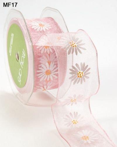 May Arts Sheer Gänseblümchen Draht Draht Kanten Schleifenband 2m pink