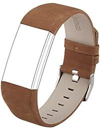 Wearlizer cuero genuino banda accesorios correa de repuesto para deporte fitness Tracker Fitbit Charge 2, color marrón claro