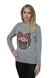 GirlTalkFashions Womens Cute Pug Dog Bow Logo Casual Knitwear Jumper