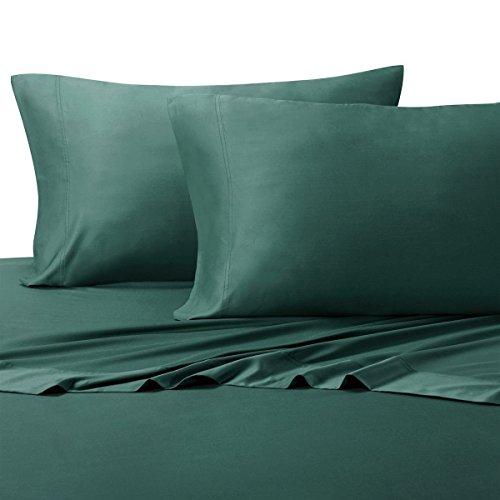 Seidig Weich Blatt 100% Viskose aus Bambus-Bettlaken-Set, Bambus, blaugrün, Split-King ( 2TXL)