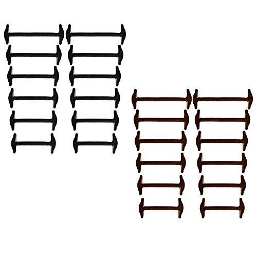 Joyshare No Tie Lacci per scarpe per adulti - silicone elastico piatto Laces (Black+Brown)