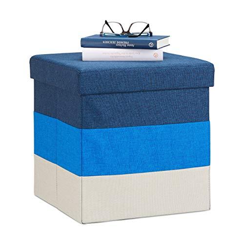 Relaxdays Polster Hocker mit Stauraum, gestreifter Sitzhocker, faltbarer Polsterhocker HBT: 38 x 38 x 38 cm, blau-weiß