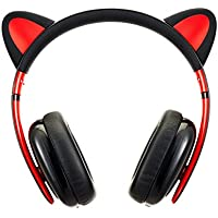 BC Master Auriculares con orejas de gato y Cable 3.5mm Audio Plug Compatible para Smartphone, PC, Laptop, MP3, etc - Negro