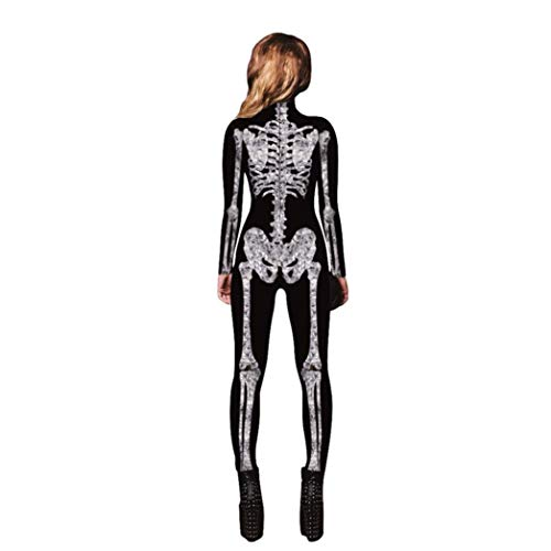 Amphia Skelettkostüm,Herren Unisex Skeleton Knochen Halloween Cosplay Bodycon -