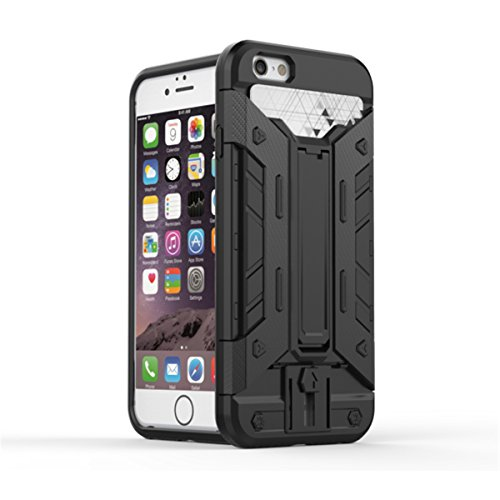 iPhone 6S Plus Hülle, iPhone 6 Plus Hülle, Lifeturt [ Gelb ] 2 Layer Hybrid Combo Innere Weiche Silikon Hart Plastik Anti-stoß Schutzhülle Tasche Case Cover für Apple iPhone 6S Plus/6 Plus E02-Schwarz