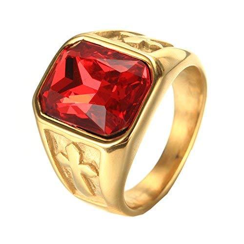 PMTIER Herren Edelstahl Jahrgang Gold Kreuz Erklärung Ring mit Rot Stein Größe 62 (Halloween-kostüme Männlich Gute)