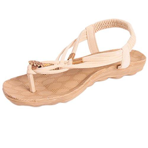Perle Sandali Con Piatte Bohemien Spiaggia Hengsong Donne Toe Beige Open qET1wn67