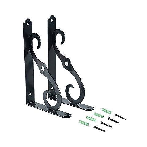 HimanJie 1 Paar Regalträger Metall, Antik Regalwinkel Schwerlastträger Regalhalter Regalbodenträger (Schwarz, L)