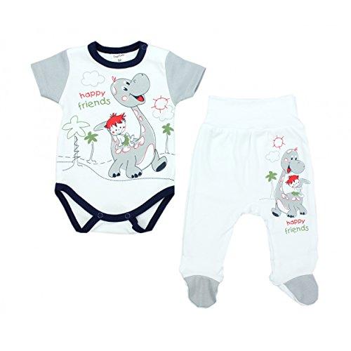2er Baby Bekleidungsset für Mädchen oder Jungen: Kurzarm-Body mit Aufdruck & Strampelhose mit Fuß, Farbe: Dino Grau, Größe: 68