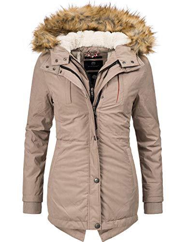Marikoo Damen Mantel Wintermantel Winterparka Akira Taupe Gr. L (Zip-jacke-mantel)