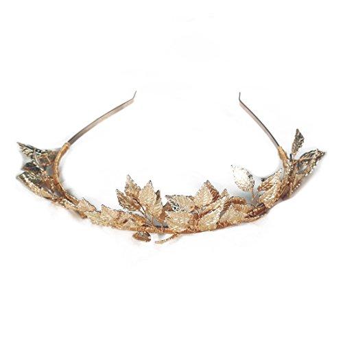 TOOGOO Griechische Goettin Blatt Krone Barock Koenigin Gold Farbe Krone Tiara Hochzeit Braut Stirnband Haarschmuck Haarteil