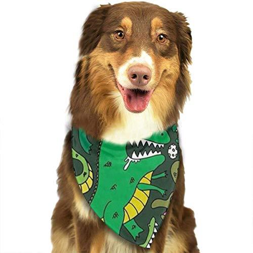 Rghkjlp Dinosaur Green Pet Bandana Washable Reversible Triangle Bibs Scarf - Kerchief for Small/Medium/Large Dogs & Cats