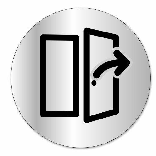 "Symbol DS32 Indicator disc ""Ziehen"" - Selbsthaftendes Aluminium - Durchmesser 80 mm"
