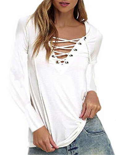 Kerlana Sweatshirt Donna Scollo V Manica Lunga Camicetta Puro Colore Maglioni Tirare La Corda T-Shirt Sexy Fit Top Comode White