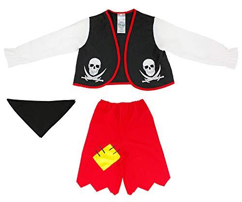 Mädchen Piraten Mit Hose Kostüm - Das Kostümland Pirat Braveheart Kostüm für Kinder - Schwarz Rot - Gr. 116